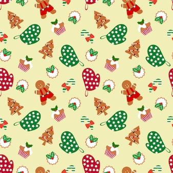 ジンジャーブレッドマンとクリスマスシームレスなパターン。