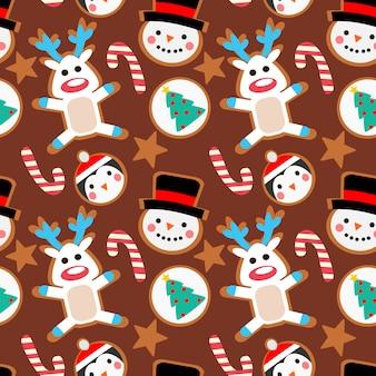 クリスマスクッキーシームレスパターン。