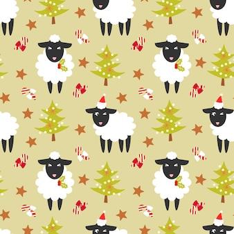 かわいい黒い羊とクリスマスツリーのシームレスなパターン。