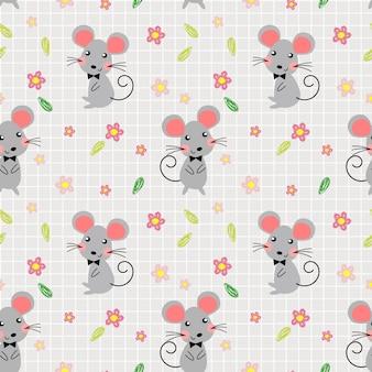 かわいいマウスと素敵な花のシームレスなパターン。