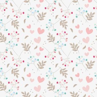 甘い花と小さなハートのシームレスなパターン。