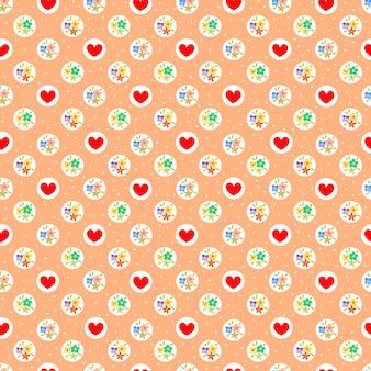 甘い小さな花と赤いハートのシームレスパターン。