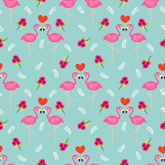 フラミンゴとバラのシームレスパターン。