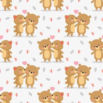 かわいいカップルクマはシームレスパターンにキスします。