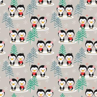 冬の季節のシームレスパターンでかわいいカップルペンギン。