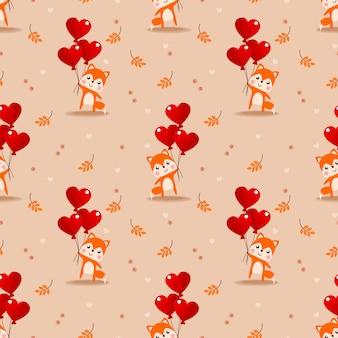 かわいい赤ちゃんキツネとバレンタインバルーンのシームレスパターン。