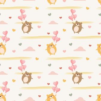 かわいい赤ちゃんクマとハートのバルーンのシームレスパターン。