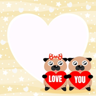 かわいいカップルパグは、単語「愛」の背景を保持します。