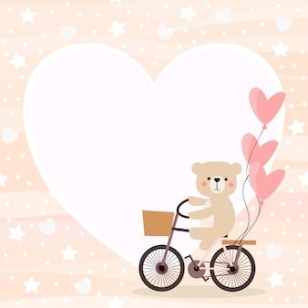 かわいいクマはバレンタイン背景で自転車に乗る。
