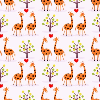 Милая пара жирафов бесшовные модели.