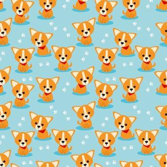 かわいい子犬のシームレスパターン。