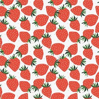 新鮮なイチゴのシームレスパターン。