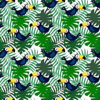 熱帯の鳥のシームレスパターン。