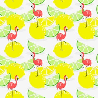 夏のレモンとフラミンゴのシームレスパターン。