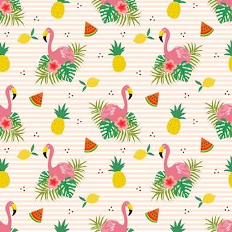 夏の花とフラミンゴのシームレスパターン。
