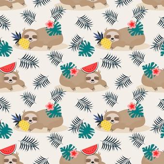 Симпатичные ленивый ленивец и летние фрукты бесшовные модели.