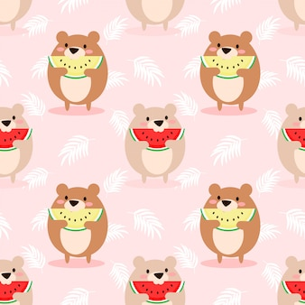 Милый медведь ест арбуз бесшовные модели.