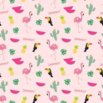Тропический бесшовный образец с фламинго, туканами, кактусами и тропическими фруктами.