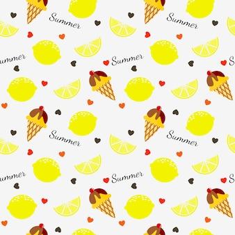 夏のレモンとアイスクリームのシームレスパターン。
