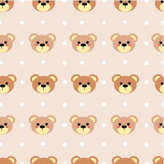 Безшовная картина милого вектора медведя на пастельном цвете тона.