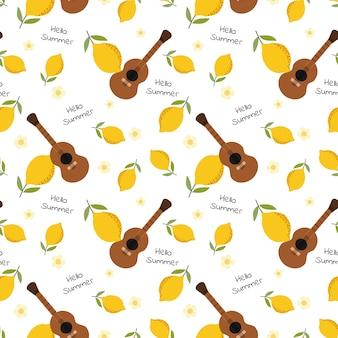 かわいいギターと夏のレモンのシームレスパターン。