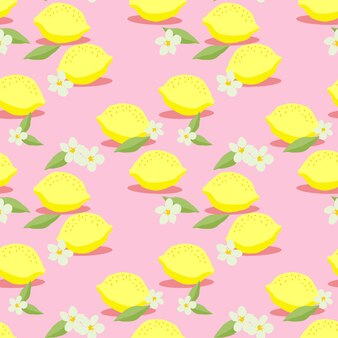 新鮮なレモンのシームレスパターンベクトル。カラフルな柑橘系の果物の手描き。夏の果物のコンセプトです。