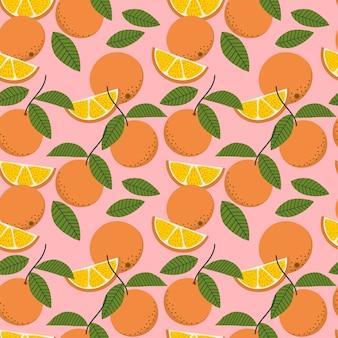 新鮮なオレンジと葉のシームレスパターン