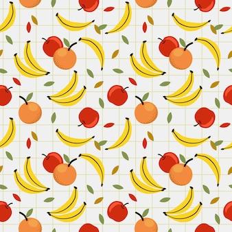 新鮮なフルーツ、バナナ、アップル、オレンジ、シームレスパターン。夏フリーアフルーツのコンセプトです。