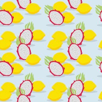 新鮮なフルーツ、ドラゴンフルーツ、レモン、シームレスパターン。夏の果物のコンセプトです。