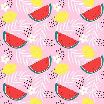 新鮮なレモンとスイカのシームレスパターンベクトル。カラフルな柑橘系の果物の手描き。夏の果物のコンセプトです。