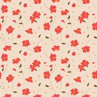 赤い野生の花のシームレスなパターン。