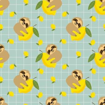 かわいいナマケモノとレモンのシームレスパターン。