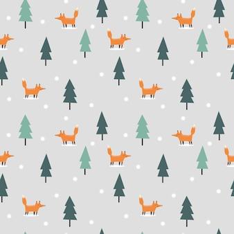 Симпатичная лиса в рождество зима бесшовный фон