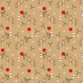 ビンテージスタイルのクリスマスボールのシームレスパターン