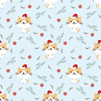 かわいい猫とクリスマス要素のシームレスパターン。