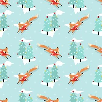 クリスマス冬のシームレスなパターンでかわいいキツネ