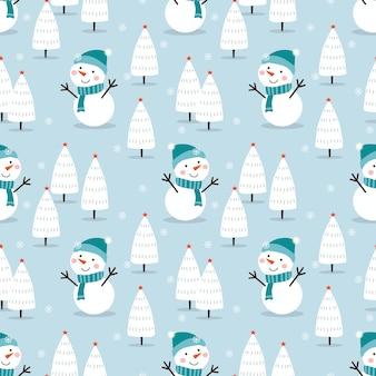 クリスマスシーズンのシームレスなパターンでかわいい雪だるま