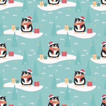 クリスマスシーズンのシームレスなパターンでかわいいペンギン