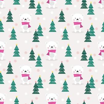 クリスマスシーズンのシームレスなパターンでかわいいシロクマ