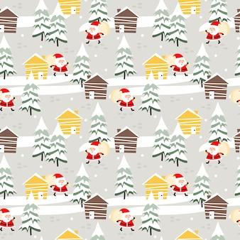かわいいクリスマスとサンタのシームレスパターン。