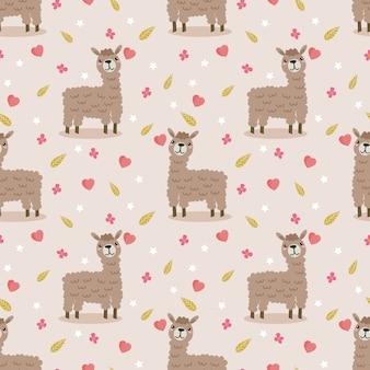 Симпатичные ламы на сладкий розовый цветок бесшовные модели.