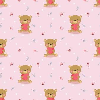 Милый медведь держать сердце бесшовные модели.