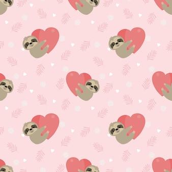 Симпатичные ленивец держать сердце на розовые листья бесшовные модели.