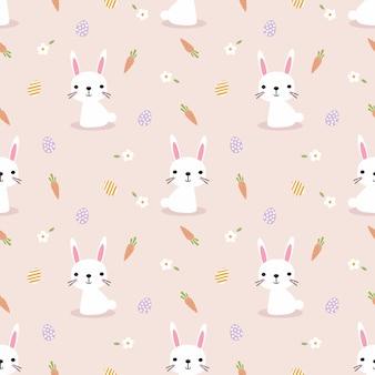 Милый белый кролик и пасхальные яйца бесшовные модели.