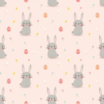 Милый кролик и пасхальные яйца бесшовные модели.