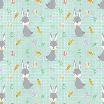 Милый зайчик и пасхальные яйца бесшовные модели.