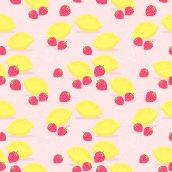 Свежие лимоны и клубника бесшовный фон