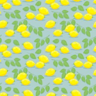 Лимон и листья бесшовные модели.