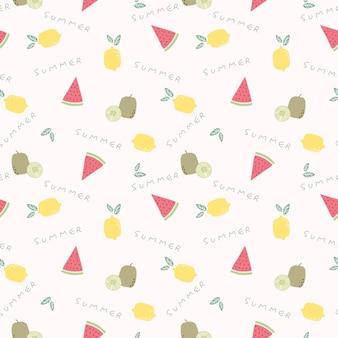 Симпатичные летние фрукты бесшовные модели