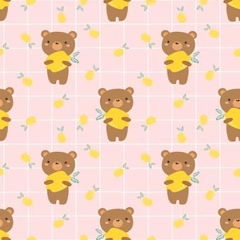 Милый медведь и лимон бесшовные модели.